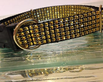 Gold Rhinestone BLING Dog Collars Puppy Small Fancy Elegant Glam Plastic Quick Release Buckle Adjustable