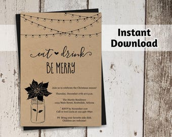 Printable Christmas Party Invitation Template - Rustic Kraft Paper Holiday Party Invitation - Instant Download Digital File PDF