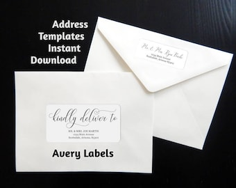 Printable Calligraphy Address Template Envelope Label, Avery 2 x 4 & 1 x 2-5/8 - Wedding, Christmas, etc - Instant Download Digital File PDF