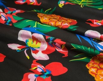 Printed Stretchy pure silk satin Fabric,fruit pineapple animal bird floral leaves pattern,smooth,mini skirt,twill,Sewing,Craft By The Yard