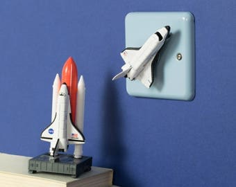 Space Rocket Light Switch - Outer Space Bedroom Light - Decorative Dimmer Switch - Outer Space Bedroom Decor - Outer Space Birthday Gift