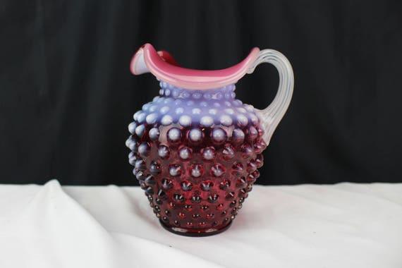 Fenton Art Glass Cranberry Opalescent Hobnail Creamer/Pitcher