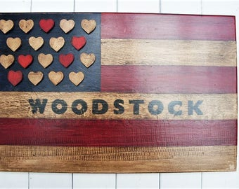 "Americana  ""Woodstock"" Hearts  Flag"
