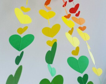 Hearts Paper Garland, baby shower, Merry and Bright Christmas, birthday, wedding