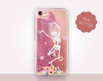 Dancing Skeleton Glitter Phone Case Clear Case For iPhone 8 iPhone 8 Plus - iPhone X - iPhone 7 Plus - iPhone 6 - iPhone 6S - iPhone SE