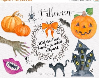 SALE Halloween Clipart, Watercolor Clip Art , Autumn Clipart, Commercial Use Clipart,  Hand-painted Clipart,Pumpkin,Holidays