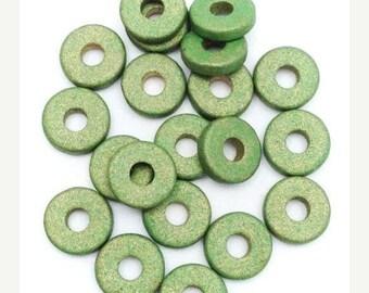 SALE 10% OFF 20 ceramic discs, khaki metallic, 8mm, 20 pieces, ceramic beads, beads round discs, lenses, Greek beads, round, ceramic beads