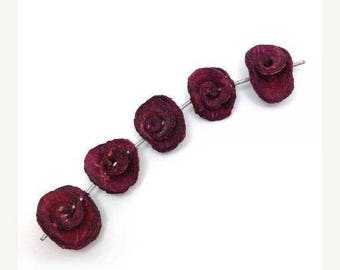 SALE 15% OFF 5 rose, violet, orange peel, 13-16mm, 5 pieces, orange peel beads violet round beads, violet roses, small pendants, dried beads