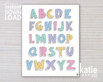 alphabet print - ABC print -  kids wall art - girls ABC - 8x10 print - instant art - printable art - freehand text - girls colours ABC