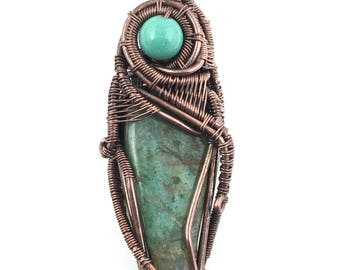 Chrysocolla gemstone pendant with Chrysoprase and Gold Brown Tourmaline. Cleansing The Heart & One's Unconsciousness To Empower One's Voice