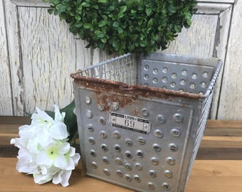 Vintage Metal Locker Baskets, Meatal Basket, Vintage locker basket, vintage metal storage basket