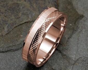 Mens Wedding Band, 14K Solid Gold Band, Rose Gold Ring, Mens Wedding Ring, Gold Band, Wedding Ring Mens, Rose Gold Ring, 6mm Mens Ring