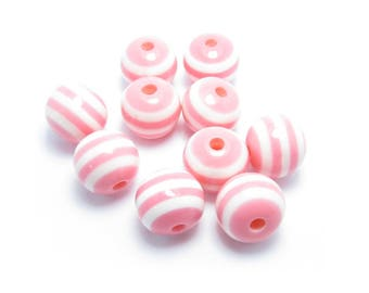 Pink RIBBED white 10mm