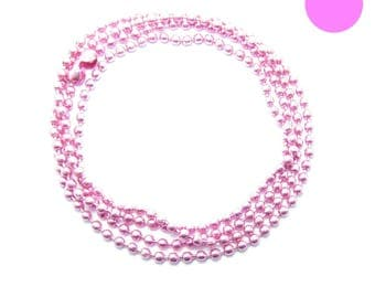 NECKLACE 60cm ball chain 2mm hot pink