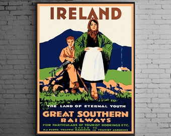 Ireland Travel Poster , Vintage Travel Poster