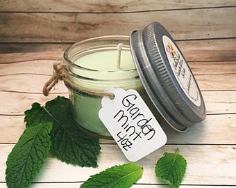 Garden Mint Scented All Natural Soy Candle - Mint Candle - Essential Oil Candle - Menthol Candle - Aromatherapy Candle - Home Decor - 4 oz