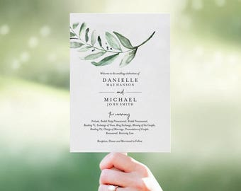 Wedding Program Fan, Wedding Program Template, Fan Template, Template Download, Bliss Paper Boutique, PDF Instant Download #BPB330_3_1