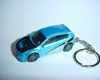 3D Subaru WRX STI custom keychain by Brian Thornton keyring key chain finished in blue/silver/black fast furious color trim