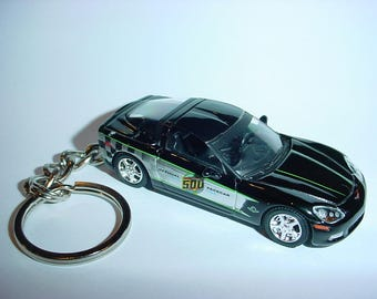 3D 2008 Chevrolet Corvette INDY 500 PACE car custom keychain by Brian Thornton keyring key chain finished in black color trim 08 race