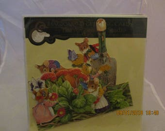 Magical 3D Greeting Card  Mice Gardening