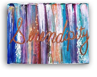 ART SALE Serendipity Quotes on Canvas, word art, landscape painting, artwork painting on canvas, Song lyrics, affirmations, art, typography