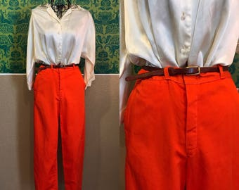 Vintage 1950s Pants - Orange Cigarette Pants - M