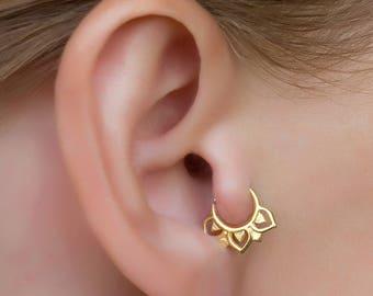 20 gauge daith ring. cartilage hoop. gold cartilage earring. tragus earring. helix hoop. helix earring.