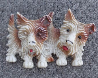 1930's Rare SCOTTIE DOGS Moving BROOCH...Celluloid Scottie Dog Terrier Jewellery...Antique Figural Art Deco Animal gorgeous gift.