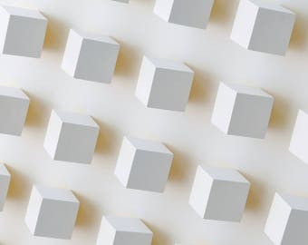 Modern Abstract 3d Wall Sculpture Home Or Office Minimalist Art Decor White With Yellow Color Reflection Rotatable Blocks Changeable Pattern