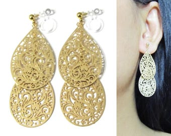 Gold Leaf Clip On Earrings |33C| Lace Filigree Art Deco Motif Dangle Clip Earrings Long Statement Clip-ons Teardrop Layered Bridal Clip On