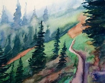 Pacific Northwest, Cascades, pine trees, Misty landscape, northwest watercolor,Northwest landscape, Misty trees, pine tree watercolor, trees