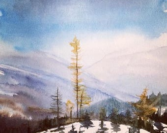 Pacific Northwest, Cascades, mountain watercolor, larch trees, Misty mountains, snowy mountains, landscape watercolor, landscape painting