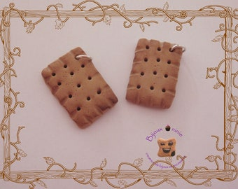 Charm 2 small handmade Fimo cookie