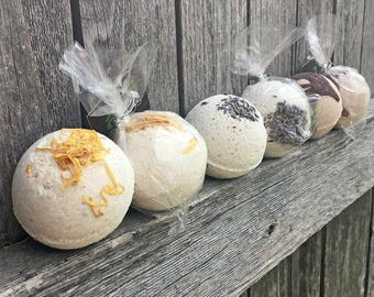 All Natural Bath Bombs, Chocolate bath bomb, Lavender bath bomb, Oatmeal Calendula bath bomb, Chocolate Orange Bath bomb