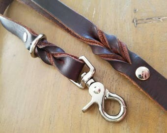 3-Point Leather Leash--5.5ft, Chocolate Brown