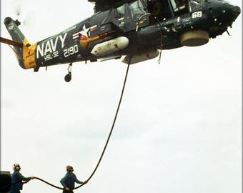 Poster, Many Sizes Available; Navy Kaman Sh-2F Seasprite Helicopter (Hsl-32) 1975