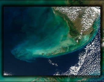 Poster, Many Sizes Available; Florida Keys Landsat