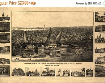 20% Off Sale - Poster, Many Sizes Available; Map Of Washington D.C. U.S. Capitol 1890