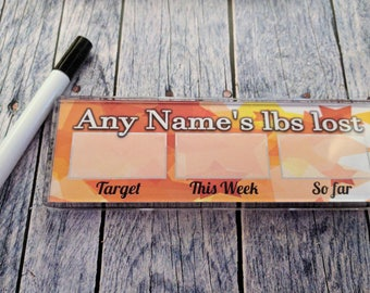 Personalised Weight Lost Magnet or Desk Stand - Weight Loss - Slimming Tracker - Fridge Magnet - Comes with Pen - Orange Star Design