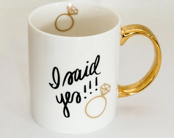 I Said Yes Coffee Mug | Coffee Cup Mug Sister Gift Best Friend Gift Gift For Women Girlfriend Gift Gold Bridal Shower Gift Bridesmaid Box