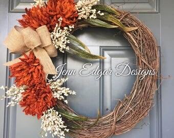 Fall wreaths for front door, front door decor, fall wreaths, fall wreath, autumn wreath, custom fall wreath, front door wreath, fall decor