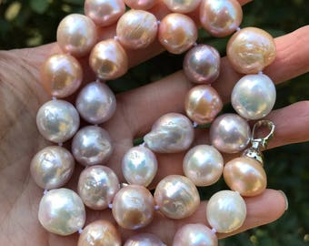Baroque pearl necklace,Multi-color Baroque pearl Necklace,Nucleated freshwater pearl necklace 12-13mm,high luster pearl necklace