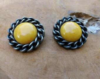 Vintage Bakelite Clip on Earrings - Yellow - Big Costume Jewelry