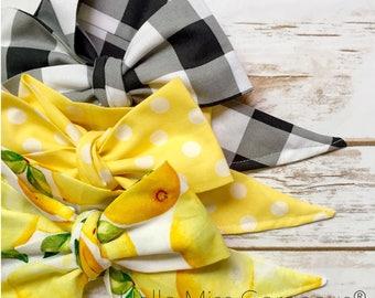 Gorgeous Wrap Trio (3 Gorgeous Wraps)- Noir Gingham, Dottie Lemon & Sweet Lemon Gorgeous Wraps; headwraps; fabric head wraps; headbands