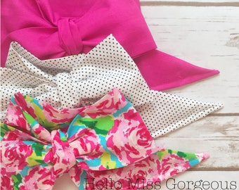 Gorgeous Wrap Trio (3 Gorgeous Wraps)- Magenta, Dottie & Rosie Gorgeous Wraps; headwraps; fabric head wraps; bows