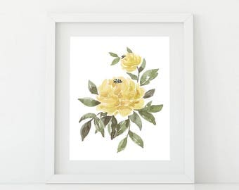 Printable Watercolor Art, Yellow Peony, Floral Watercolor Wall Art, Home Decor,  Instant Download