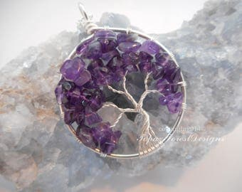 Amethyst Tree of Life Pendant February Birthstone Gemstone Necklace Tree of Life Women's Jewelry Wire Wrapped Tree Birthday Gift