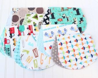 Baby Boy Burp Cloths - Set of 7 - Baby Shower Gift - Baby Gift