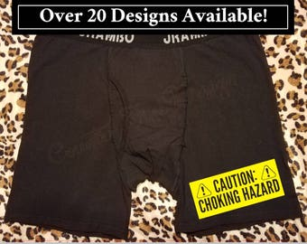 valentines day gift for him caution choking hazard mature funny underwear personalized - Valentines Boxer Briefs