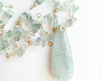 Quartz pendant sky blue unique gemstone chain boho necklace sky blue green agate beads blue green boho gemstone for her blue gift fluorit